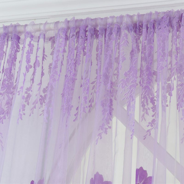 2018 New Window Curtains 1m *2m Sheer Voile Tulle For Bedroom Living Room Balcony Printed Tulip Pattern Sun -Shading Curtain