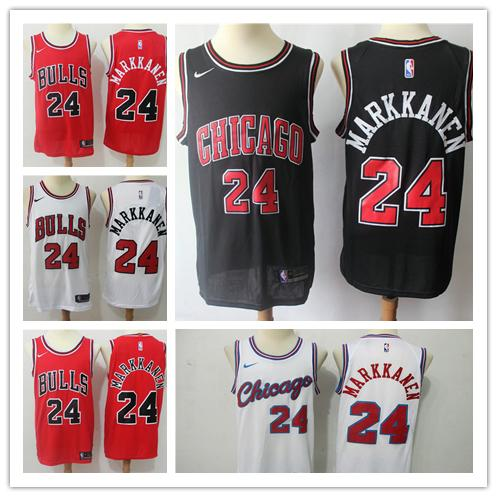 purchase cheap 1ebaa 3e852 2018 2019 New Mens Chicago Bulls 24 Lauri Markkanen Basketball Jerseys  Stitched Embroidery Bulls New City Edition Lauri Markkanen White Jerseys  From ...