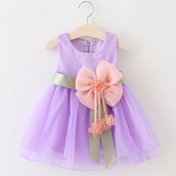 Baby Girls Dress New Big Bow Tie Infant Party Dress Cotton&voile Sleeveless Toddler Girl Clothes Ball Gown Mini Dress