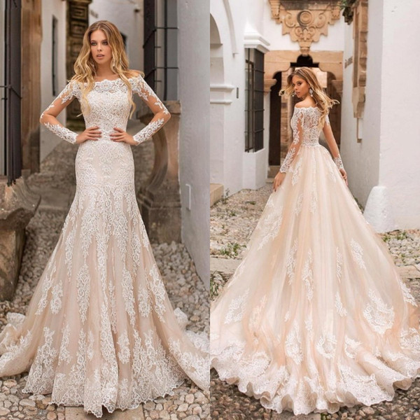 2019 Modern Champagne Mermaid Wedding Dresses Off Shoulder Lace Appliques Sheer Long Sleeves Tulle Long Bridal Gowns Bc0120 Mermaid Wedding Dresses