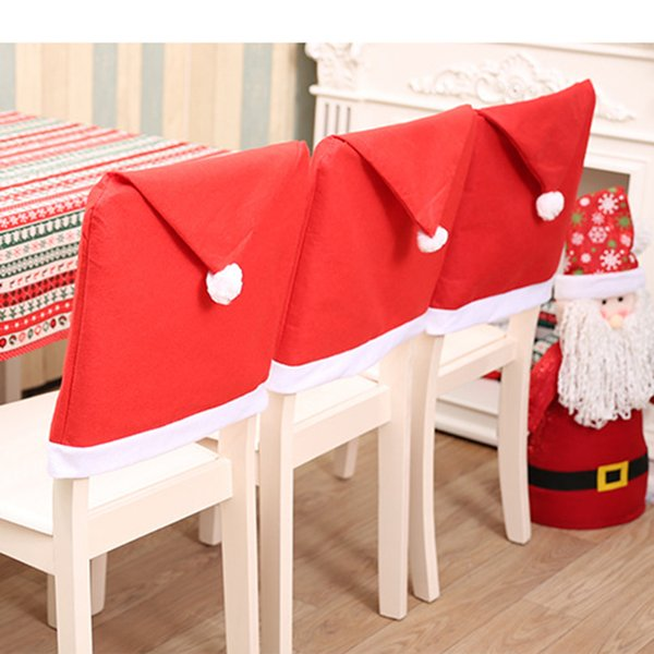 Excellent Non Woven Christmas Chair Covers Santa Claus Hat Xmas Chair Case Christmas Decorations Home Party Dinner Table Decor First Birthday Hats Personalized Squirreltailoven Fun Painted Chair Ideas Images Squirreltailovenorg
