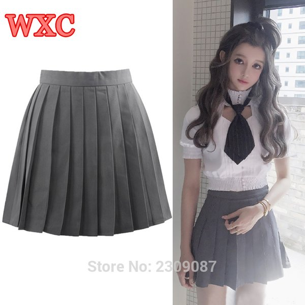 d638923ac6 Lolita Women Skirt Japan Schoolgirls Uniform Gray Pleated Mini Skirt Jk  Student Cheerleader Skirts Kawaii Anime