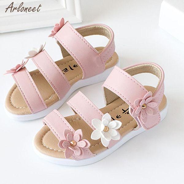 2018 baby shoes summer PU Flower Summer Kids Children Fashion Big Flower Girls Flat Pricness Shoes