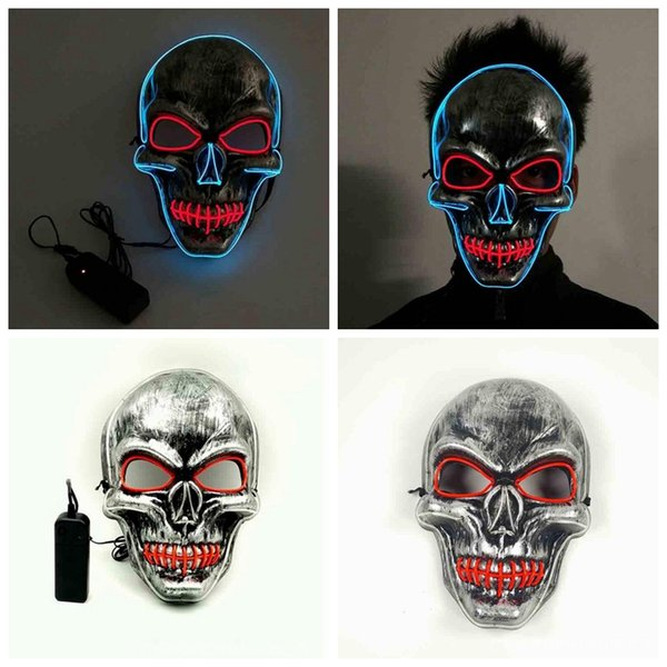 Led Halloween Masque Led Light Masquerade Masques Glowing Ghost Skull Masque Danse Masque Complet Hallowmas Party Supplies 10 pcs YW1246