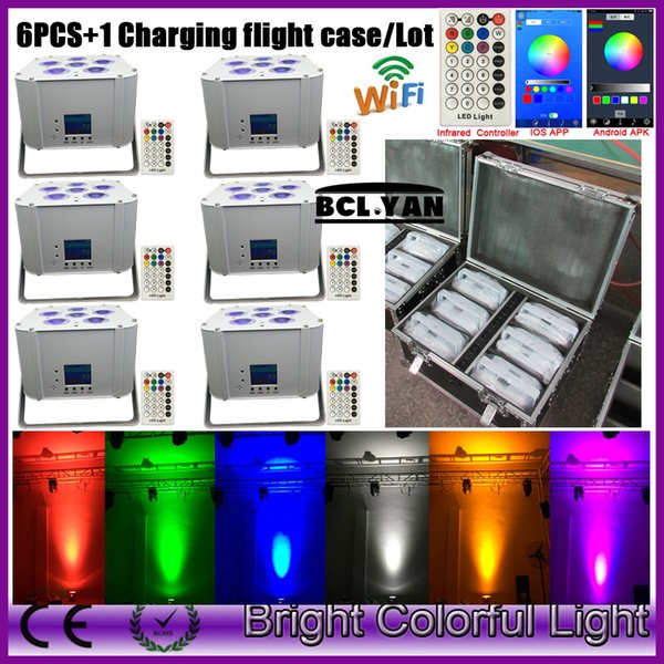 wedding uplight rgbaw uv rechargeable battery powered Wifi APP wireless dmx led par light remote IRC 6*18w (6pcs+1 flight case)