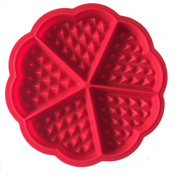 silicone High Quality FDA Silicone Pan Molds Mini Heart Rectangle Shaped Waffle Mold Muffin Mould Pancake Baking Tools Red