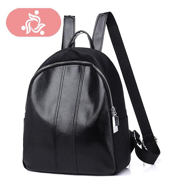 Women Black Style Colorful Stripes Rivet Bookbags Shoulder Bagpack Back Pack Schoolbag Travel Backpack Sac A Dos Femme