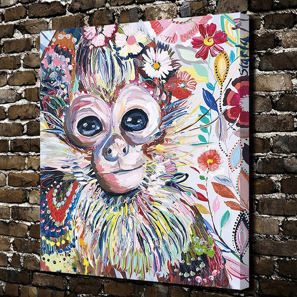 Modern Art Giclee Dazzle Colour Monkey Painting Pictures Abstract Art Print on the Canvas Poster Painting Prints Wall Decor Poster