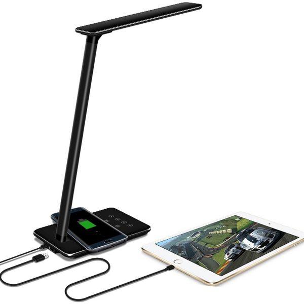 Luces de escritorio LED Lámparas de mesa Plegable para el ojo Luz de libro de temperatura de color de 4 luces con carga inalámbrica de escritorio USB blanco y negro