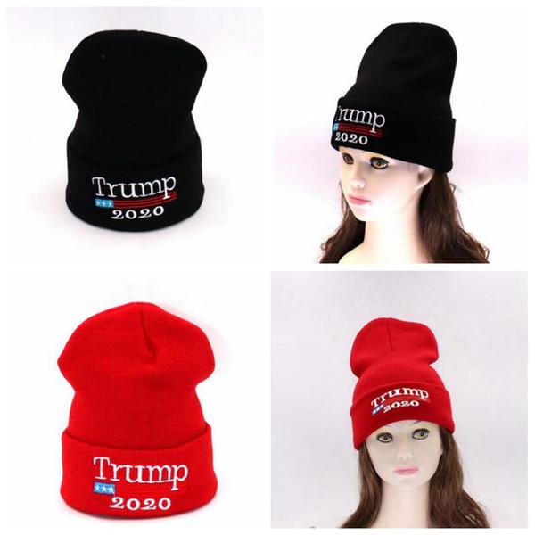 Compre Trump 2020 Sombreros De Punto Gorra De Invierno Elástico Para ...