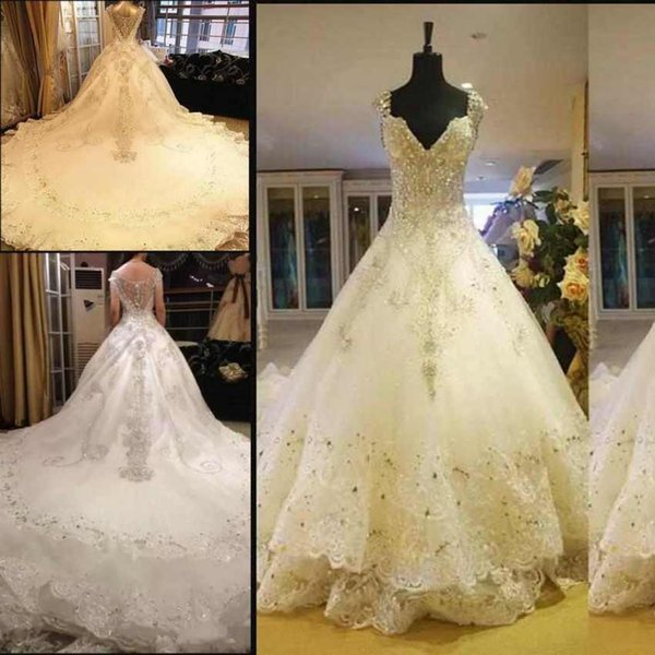 Luxury V-Neck Wedding Dresses Long Train Lace Appliques Crystal Beaded Bling Ball Gown Church Wedding Gowns