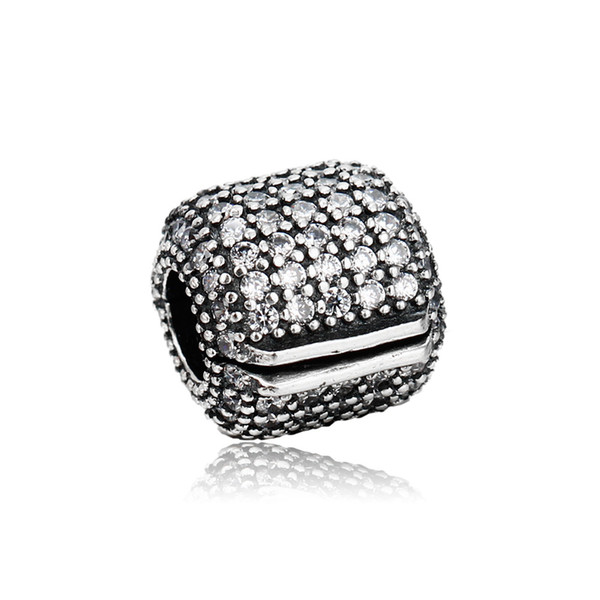 Authentic 925 Silver Beads Pave Barrel Clip, Clear CZ Fits European Pandora Style Jewelry Bracelets & Necklace