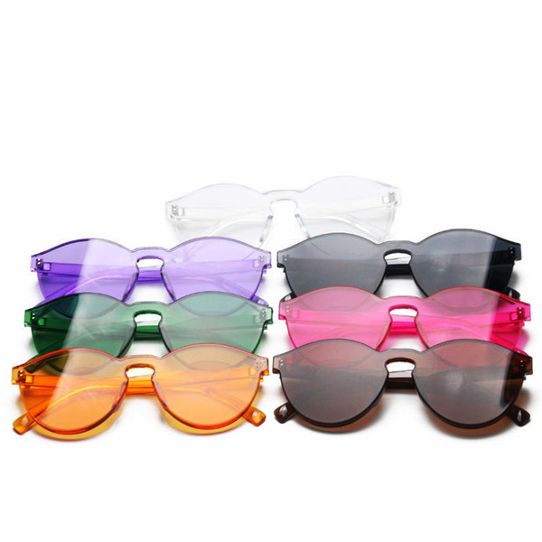 2018 new jelly color rimless sunglasses male and female candy colored sunglasses one-piece plastic colorful glasses
