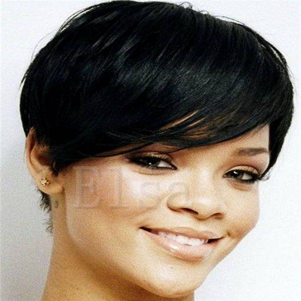 2017 New Pixie Cheap Human Cut Hair Wig Rihanna Black Short Cut Wigs For Black Women African American Celebrity Wigs Hot Sale