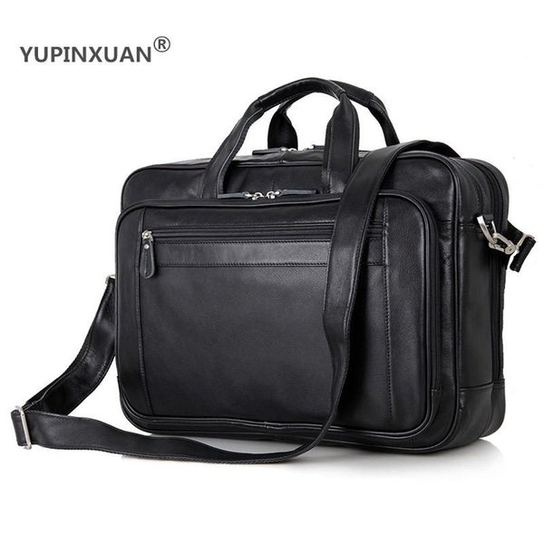 """YUPINXUAN Large Capacity Mens Cow Leather Handbags 17"""" Laptop Travel Messenger Bags Big Genuine Leather Briefcase Big Office Bag"""