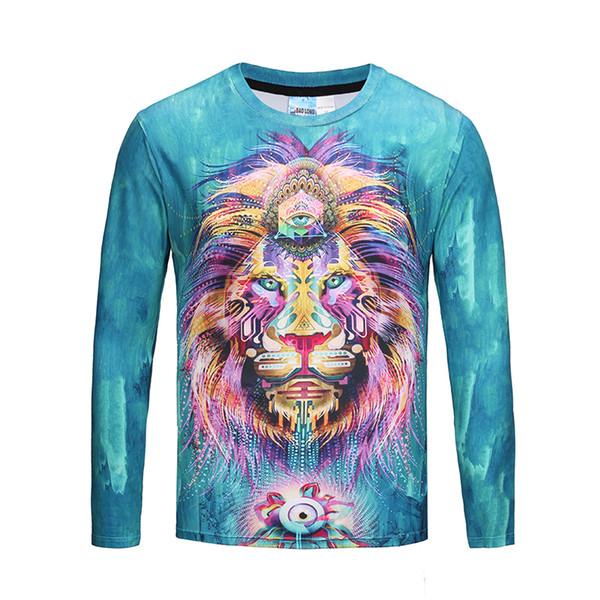 Мода Мужчины / Женщины футболка 3d синий база Лев король стильный длинным рукавом футболка Марка топы тис плюс размер M-3XL BL-436