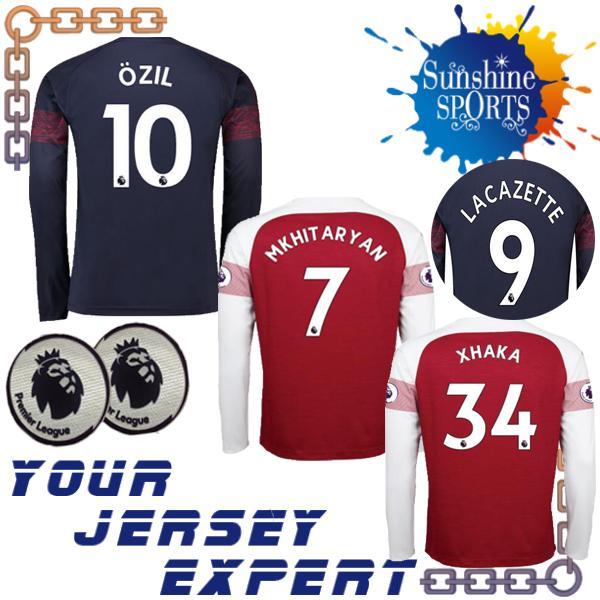 ArsENals Long sleeve OZIL AUBAMEYANG soccer jersey home away 18 19 LACAZETTE MKHITARYAN GIROUD XHAKA 2018 2019 WILSHERE football shirts