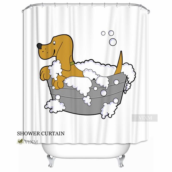 "Vixm Home Cartoon Unicorn Fabric Shower Curtain Rabbit and Mouse Custom Bath Curtain for Bathroom With Hooks Ring 72"" X 72"""