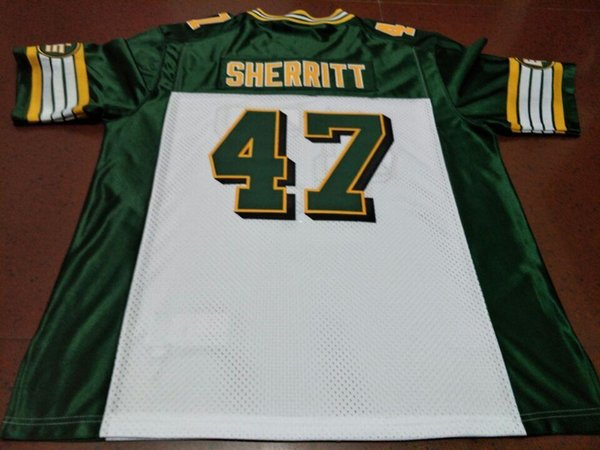 Men Edmonton Eskimos #47 J.C. SHERRITT White Green real Full embroidery College Jersey Size S-4XL or custom any name or number jersey