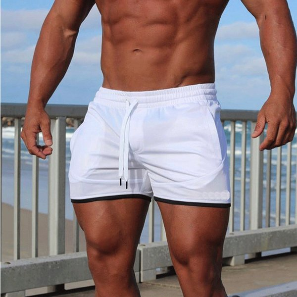 Summer summer pants, men's pants, elastic band, Trend Sports Shorts, thin beach pants.