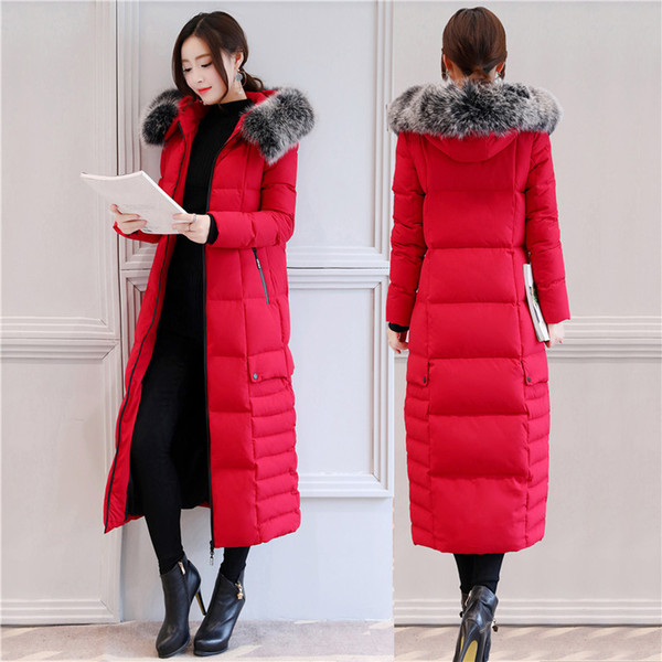 Long Down Jackets Womens Winter Coat Fox Fur Collar Snow Down Parka Hooded Thick Warm Outerwear Overcoat New Fashion 2018 White