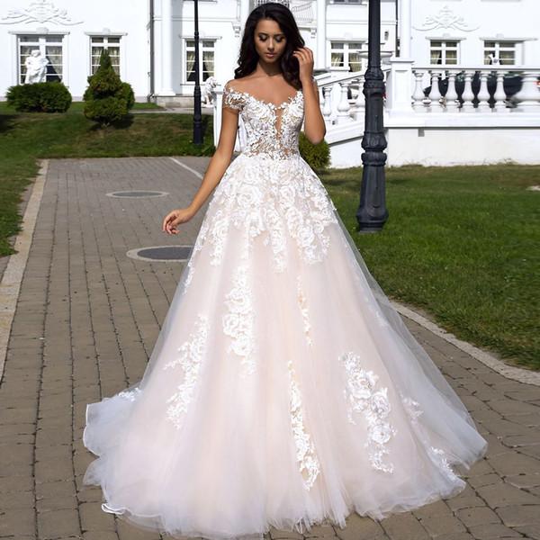 Çiçek Baskı 2019 Balo Gelinlik Kapalı Omuz Backless Tül Şapel Düğün Katmanlı Etek Illusion En Gelin Elbise Giymek