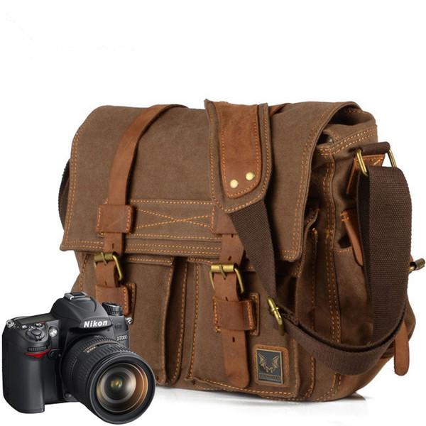Man women Luxury Cowboy Leather Shoulder Satchel Waterproof Waxed Canvas messenger Bags Inner Tank SLR Camera Courier Briefcase Bag