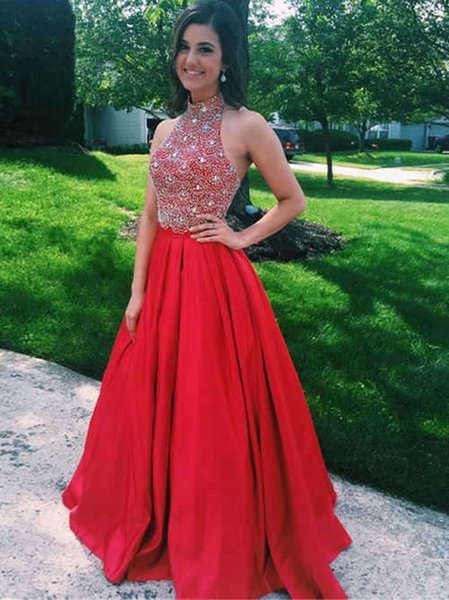 Chic High Neck Red Prom Dresses Cheap Backless Satin A line Rhinestones Crystal Sequined Dress For Junior Girls Long Evening Formal Dress