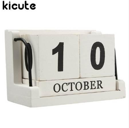 best selling Kicute Retro Mediterranean Style Wood Perpetual Calendar DIY Calendar Art Crafts Home Office School Desk Decoration Gifts