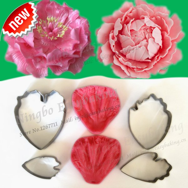 2015 New Arrivel Flower-Making Accessories Stainless Steel Gum Paste Peony Floral Petal Cutter Silicone Veiners Mold