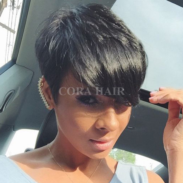 Celebrity Short Hairstyles Machine Made Lace Front Human Hair Wigs Body Wave Wavy Lace Front Wigs Natural Black For Women none lace wig