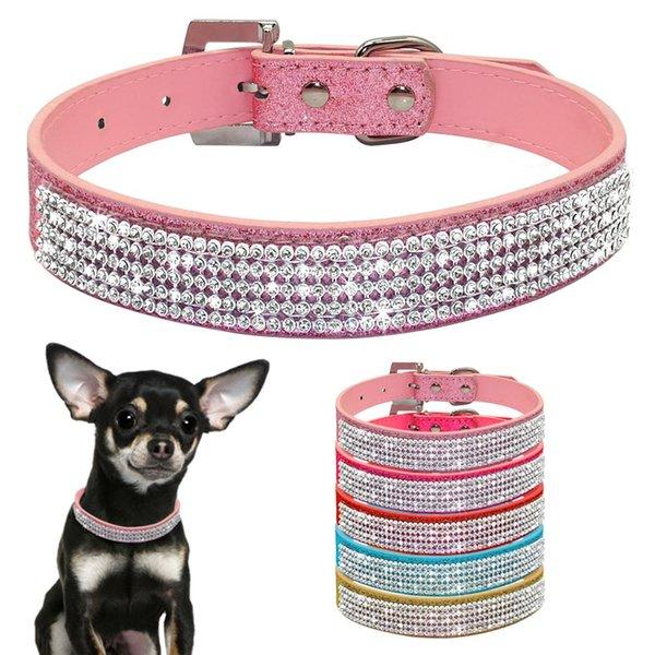 Bling Diamante Strass PU-Leder Katze Hundehalsbänder Rosa für kleine Mittelgroße Hunde Chihuahua Yorkie 5 Farben Größe XS S M L
