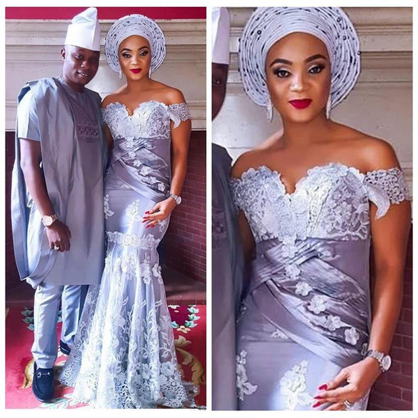 2018 Nigerian Dubai Style Prom Dresses Appliques Off Shoulder Saudi Arabic Evening Formal Gowns Mermaid African Party Dress