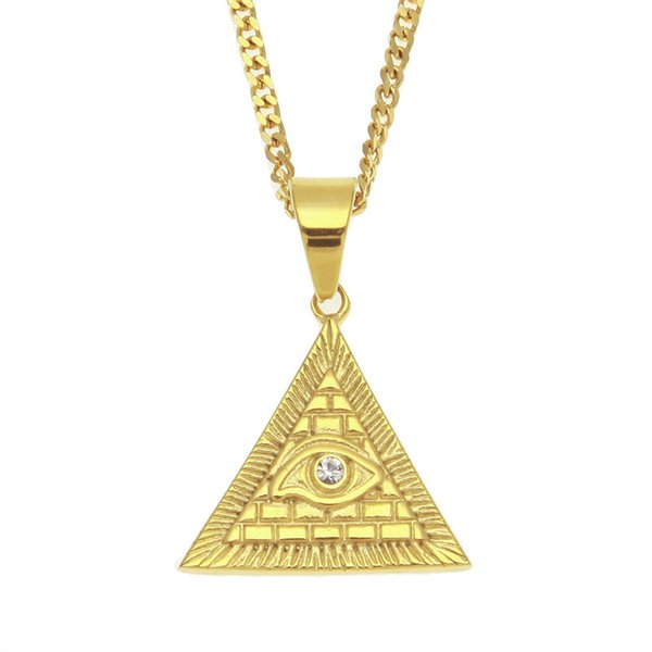 Eye of Horus Pendant Necklace Gold Plated Stainless Steel Inlaid Rhinestone Triangular Pendant 60cm Cuban Chain