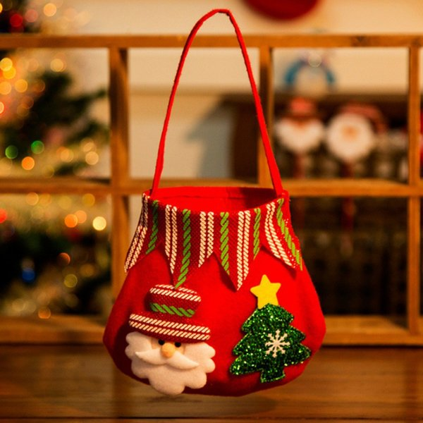 Christmas Xmas Tree Hanging Ornament Cartoon Gift Bag Decorations Christmas Bags Holders Home Party Creative Gift Bags Kids New