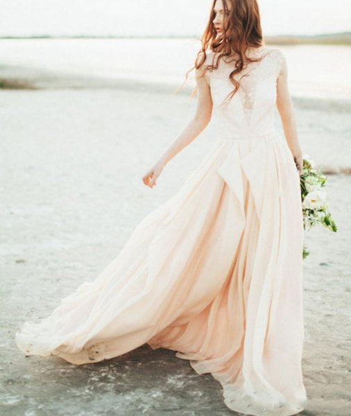 New Style Blush Pink Wedding Dress Lace Sexy Plunging V-neckline See Through Colored Bridal Gowns Flowing Chiffon Beach Wedding Dress