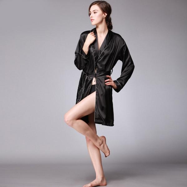 embroidered silk ladies nightwear ladies pure color robe longsleeve bathrobes