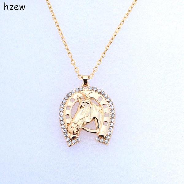 hzew моды кристалл подкова ожерелье Horse тавра ожерелья способа женщин ювелирных изделий подарок кулон ожерелье