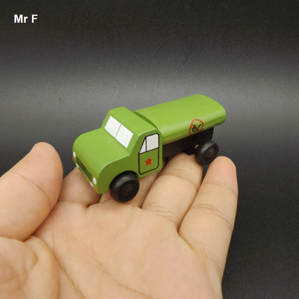 Exquisite Mini Oil Tank Truck Military Vehicle Wooden Car Educational Toys Kids Learning Educational Teaching Prop Gadget
