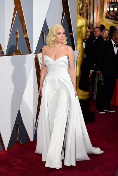 88th Oscar Lady Gaga Red Carpet Dresses 2016 White Pants Jumpsuit Unique Outfits Evening Gowns Celebrity Dresses Maxwell Fashion Satin prom