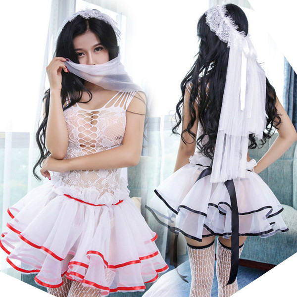 Sexy Lingerie Robe Dress Women's Erotic Stockings Sexy Hot Erotic Nightwear Sex Costumes Cosplay Princess Dressing Gown Porno Y18102206