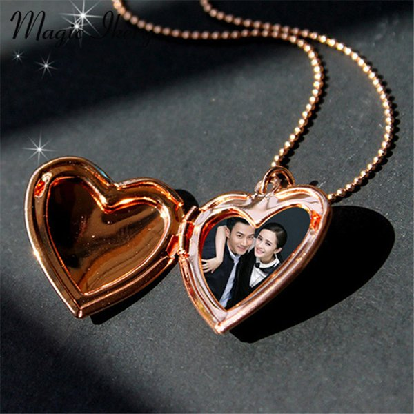 pendant necklace Magic Ikery Photo memory floating locket Heart Pocket Watch Pendants for Fashion Necklaces Gold Color Jewelry for Women