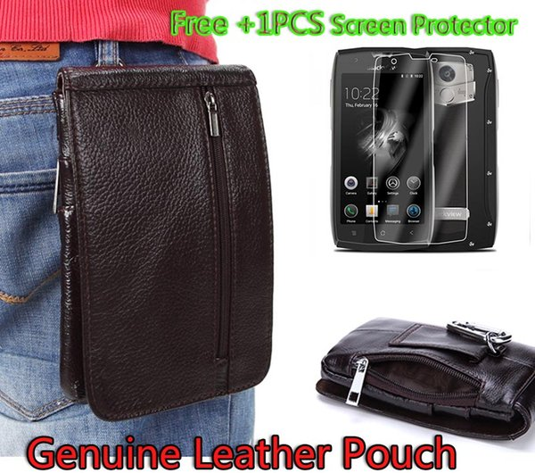 Luxury Genuine Leather Vertical Waist Bag case For Blackview BV7000 Pro Belt Clip Pouch Holster Cover capa + Tempered Glass