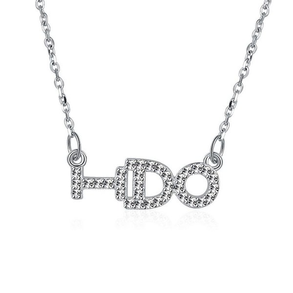 Sterling Silver 925 Chains Pandent Necklace Women Party Jewelry Pure Silver I DO Letter Necklace Good Quality Free Shipping n061