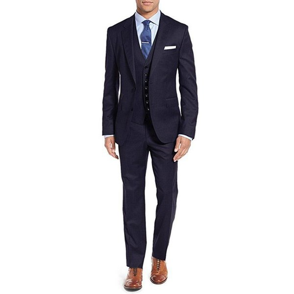 Custom Made New Style New Slim Fit Best Man Peak Navy Lapel Groomsmen Men Wedding Suits Bridegroom (Jacket+Vest+Pants) Y301