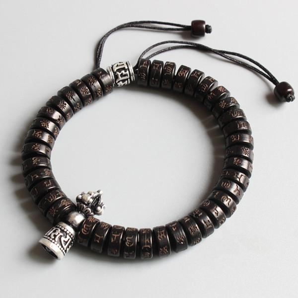 Easttisan tibetischen Buddhismus Vajra Charme natürliche Kokos Shell Perlen OM Mani Padme Hum Armband für Mann Frauen handgemachte Dropshipping