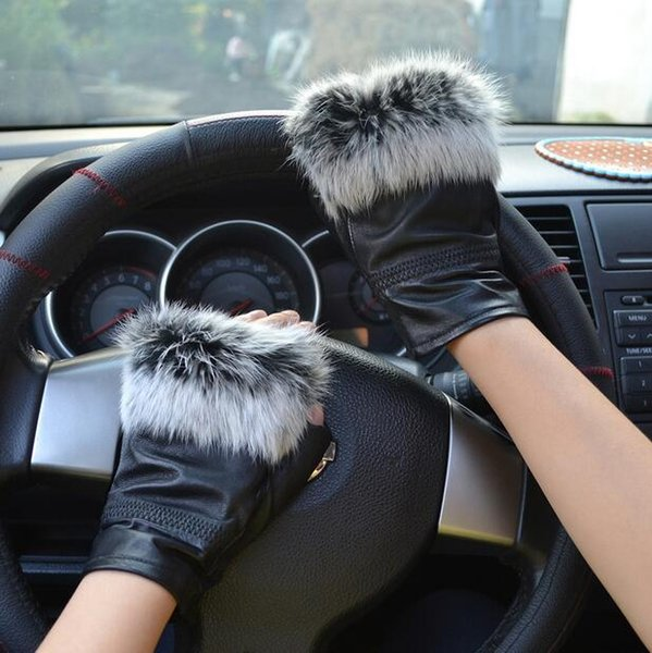 High Fashion Famous Celebrities Genuine Sheepskin Leather Real Fur Fingerless Gloves For Ladies AG-22 D18110705