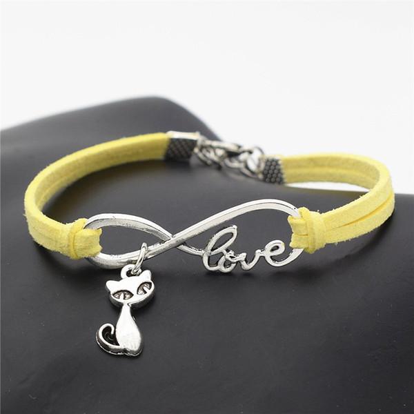 Brand Woman Boho Multilayer Infinity Love Cat Pendant Charm Bracelets for Women Men Vintage Yellow Leather Bangles Pulseras Ethnic Jewelry