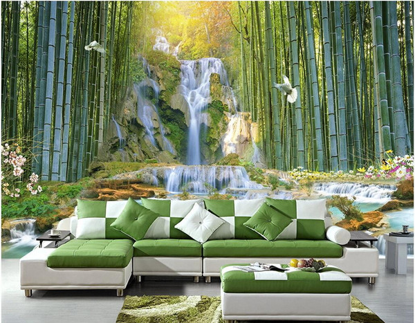 3d wallpaper on the wall custom photo mural Bamboo Forest Waterfall Water Park Scenery Room wallpaper for walls 3 d Home decoration