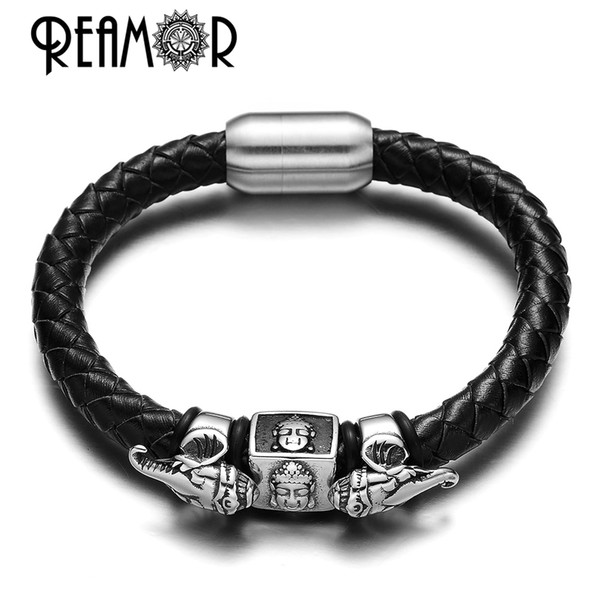 REAMOR Exoticism Design Thailand Ganesha Buddhism Genuine Leather 316l Stainless steel Bead Bracelet & Bangle with Magnet Clasp